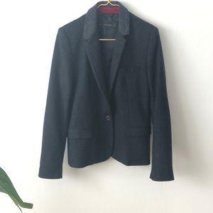 Zara Wool preppy blazer with contrasting collar